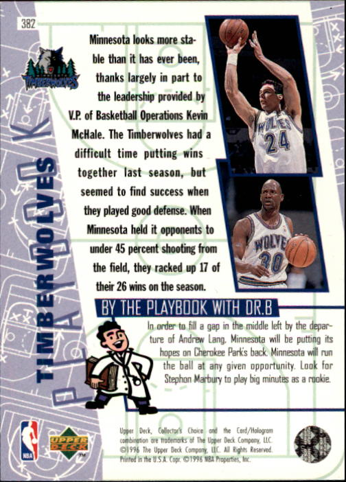 1996-97 Collector's Choice #382 Stephon Marbury PLAY back image