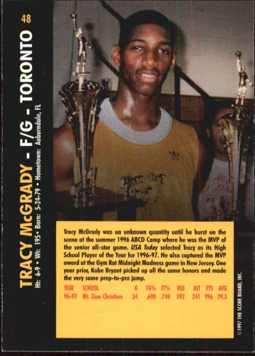 1997 Score Board Rookies #48 Tracy McGrady back image