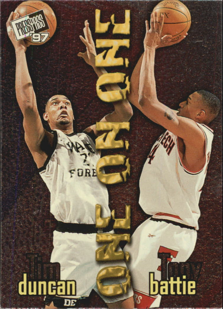1997 Press Pass One On One #1 Tim Duncan/Tony Battie