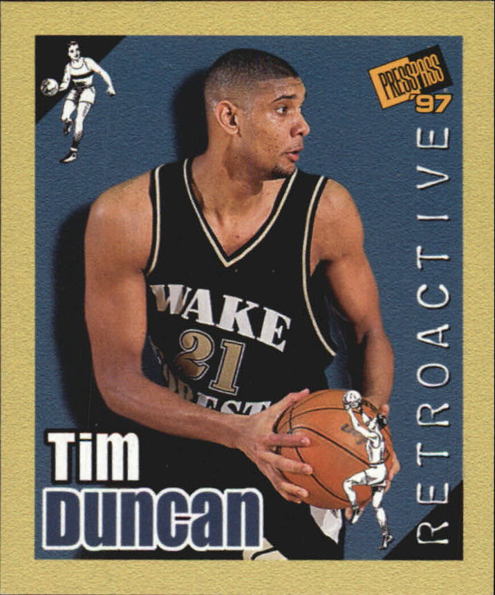 1997 Press Pass Double Threat Retroactive #RA34 Tim Duncan