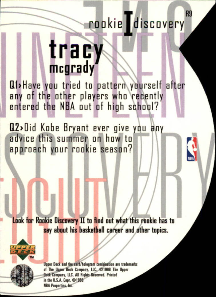 1997-98 Upper Deck Rookie Discovery 1 #R9 Tracy McGrady back image