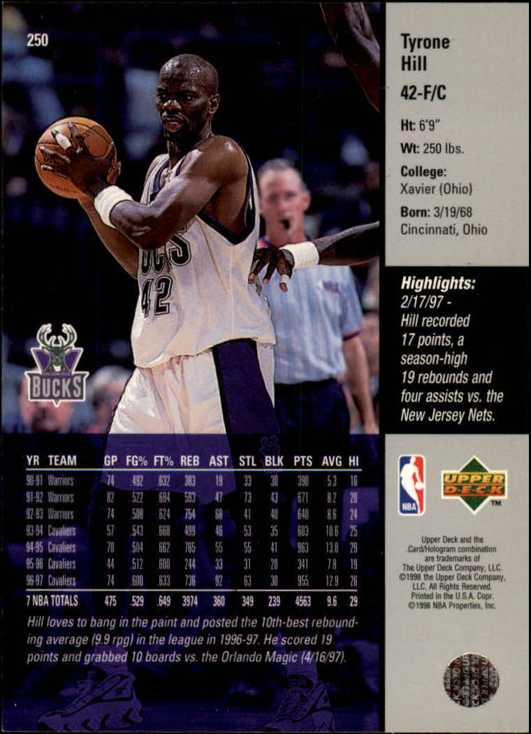 1997-98 Upper Deck #250 Tyrone Hill back image