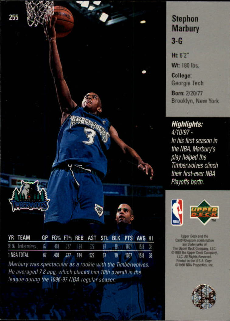 1997-98 Upper Deck #255 Stephon Marbury back image
