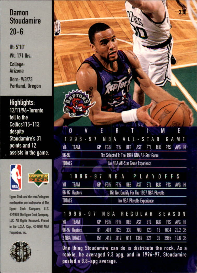 1997-98 Upper Deck #330 Damon Stoudamire OT back image