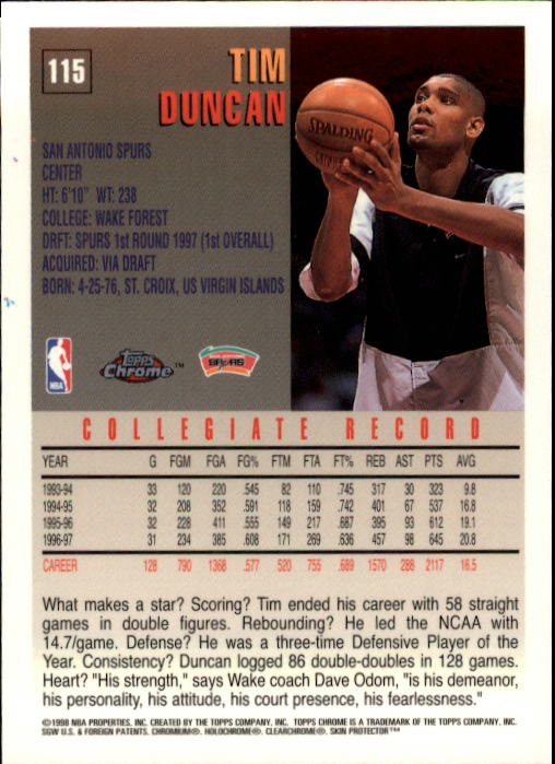 1997-98 Topps Chrome #115 Tim Duncan RC