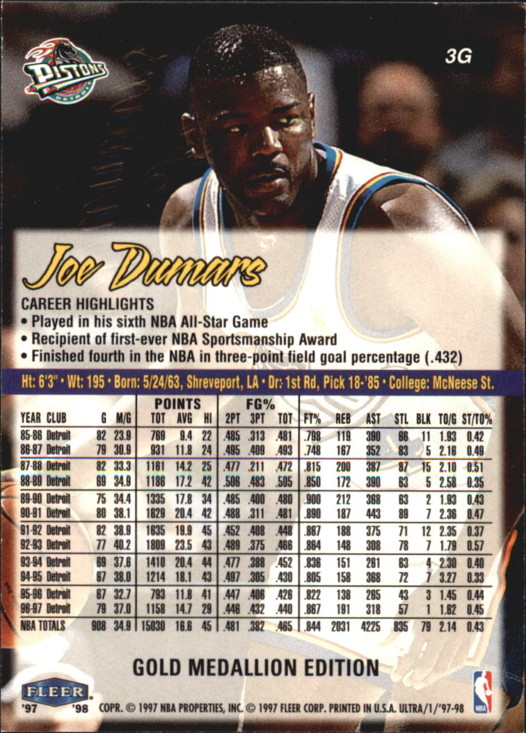 1997-98 Ultra Gold Medallion #3 Joe Dumars back image