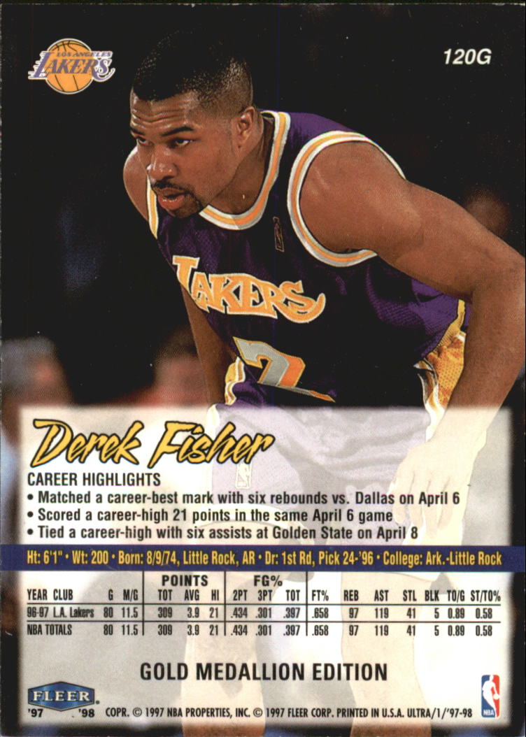 1997-98 Ultra Gold Medallion #120 Derek Fisher back image