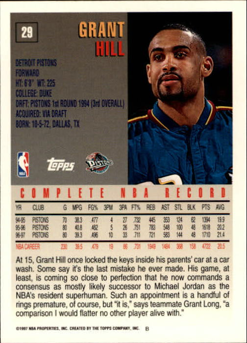 1997-98 Topps #29 Grant Hill back image