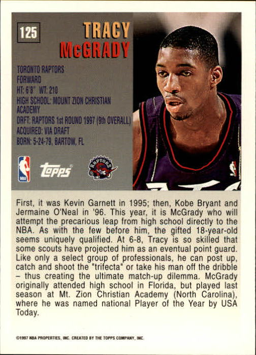 1997-98 Topps #125 Tracy McGrady RC back image