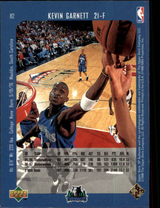 1997-98 SP Authentic #82 Kevin Garnett back image