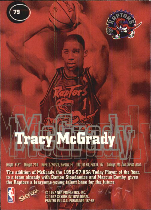 1997-98 SkyBox Premium #79 Tracy McGrady RC back image