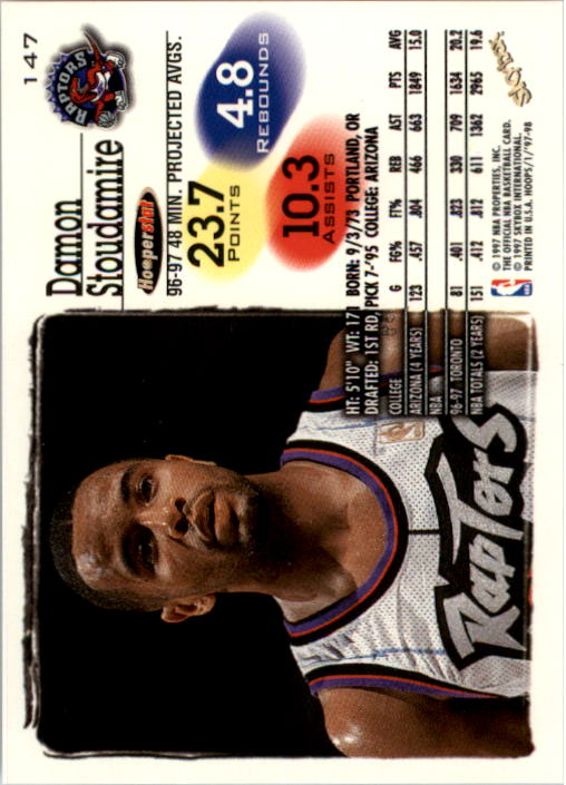 1997-98 Hoops #147 Damon Stoudamire back image