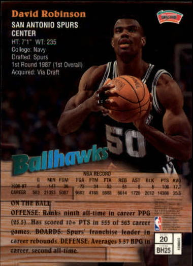 1997-98 Finest #20 David Robinson B back image
