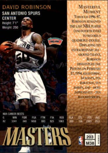 1997-98 Finest #203 David Robinson B back image