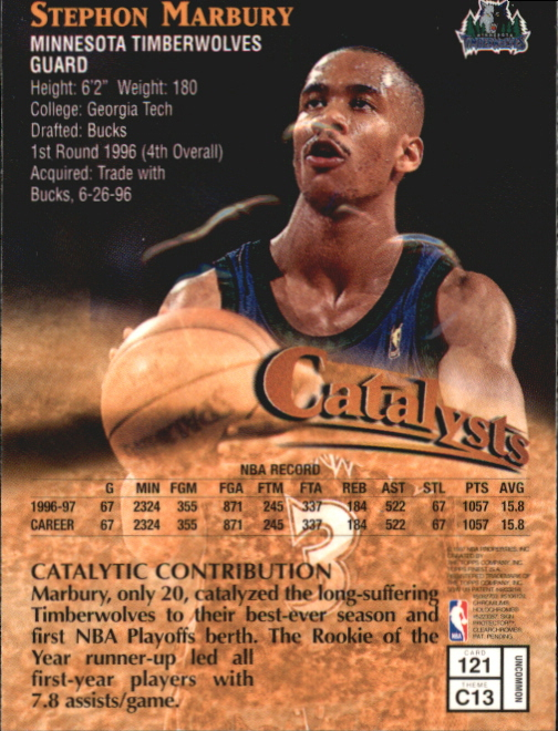 1997-98 Finest Embossed #121 Stephon Marbury S back image