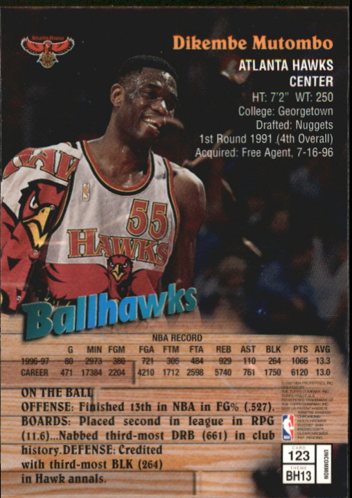 1997-98 Finest Embossed #123 Dikembe Mutombo S back image