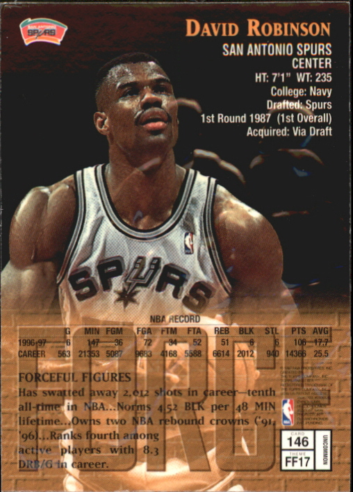 1997-98 Finest Embossed #146 David Robinson S back image