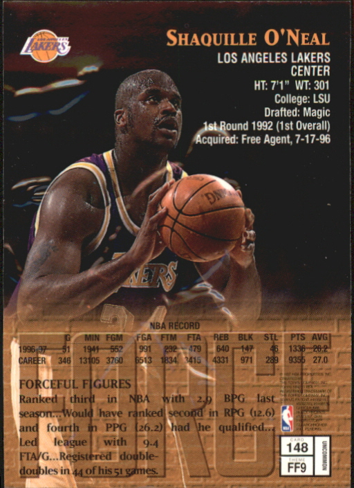 1997-98 Finest Embossed #148 Shaquille O'Neal S back image