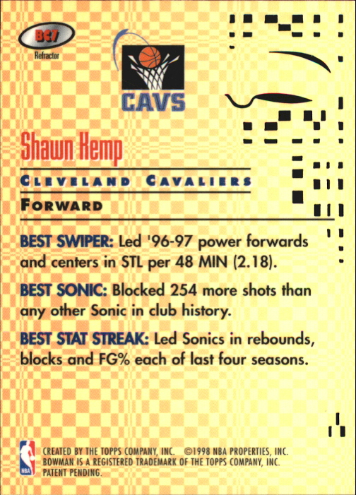 1997-98 Bowman's Best Cuts Refractors #BC7 Shawn Kemp back image