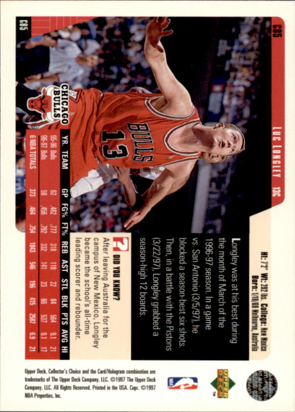 1997-98 Bulls Upper Deck #CB5 Luc Longley