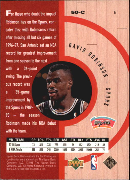 1998 Upper Deck Hardcourt #5 David Robinson back image