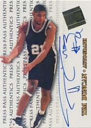 1998 Press Pass Authentics Autographs #1 Tim Duncan