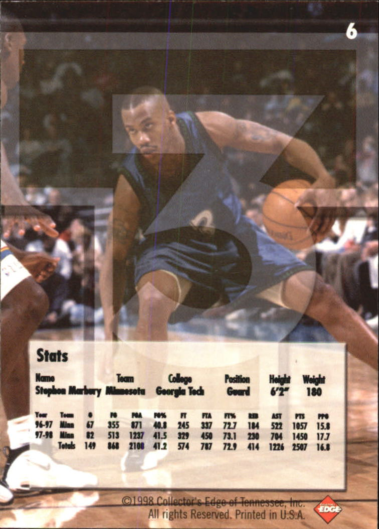 1998 Collector's Edge Impulse T3 #6 Stephon Marbury S back image