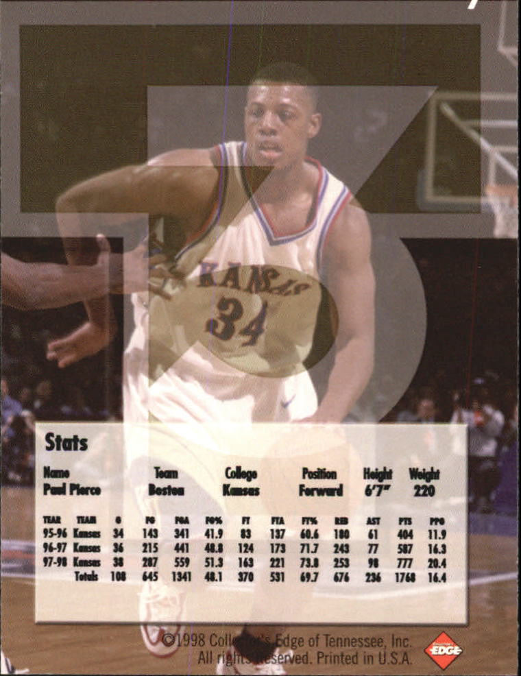 1998 Collector's Edge Impulse T3 #7 Paul Pierce S back image