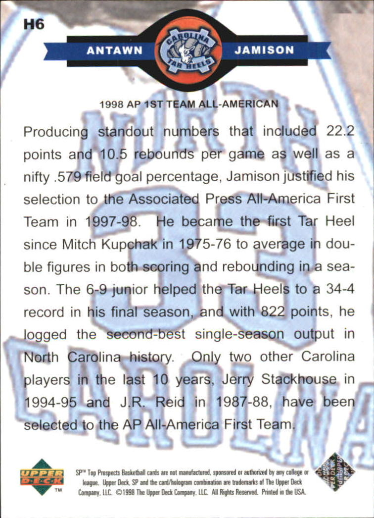 1998 SP Top Prospects Carolina Heroes #H6 Antawn Jamison back image