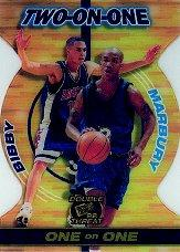 1998 Press Pass Double Threat Two-On-One #TO8 Mike Bibby/Stephon Marbury front image