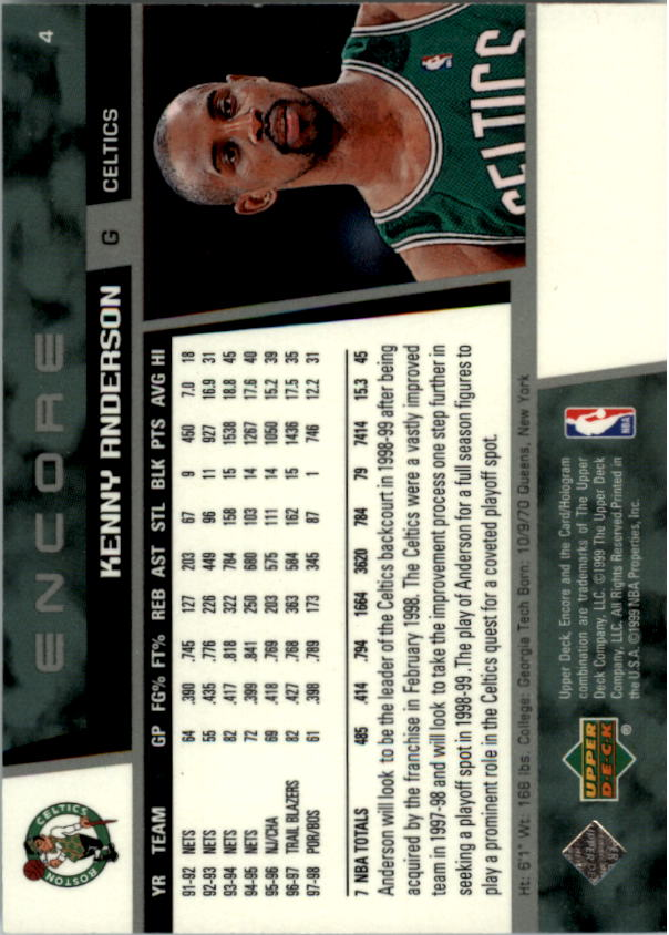 1998-99 Upper Deck Encore #4 Kenny Anderson back image