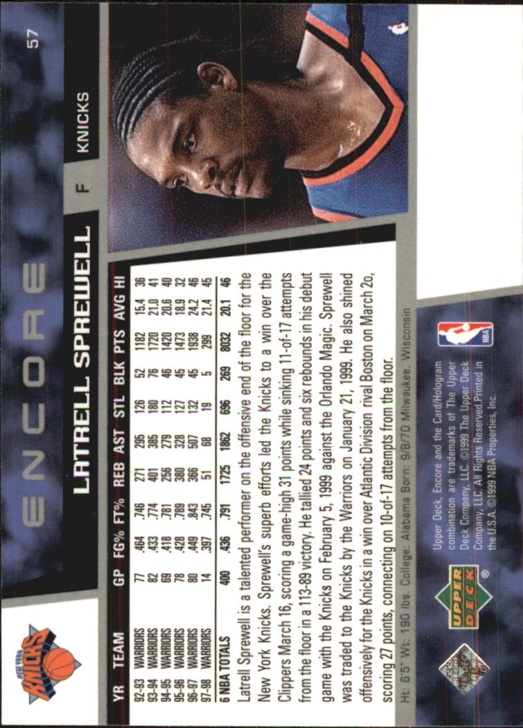 1998-99 Upper Deck Encore #57 Latrell Sprewell back image