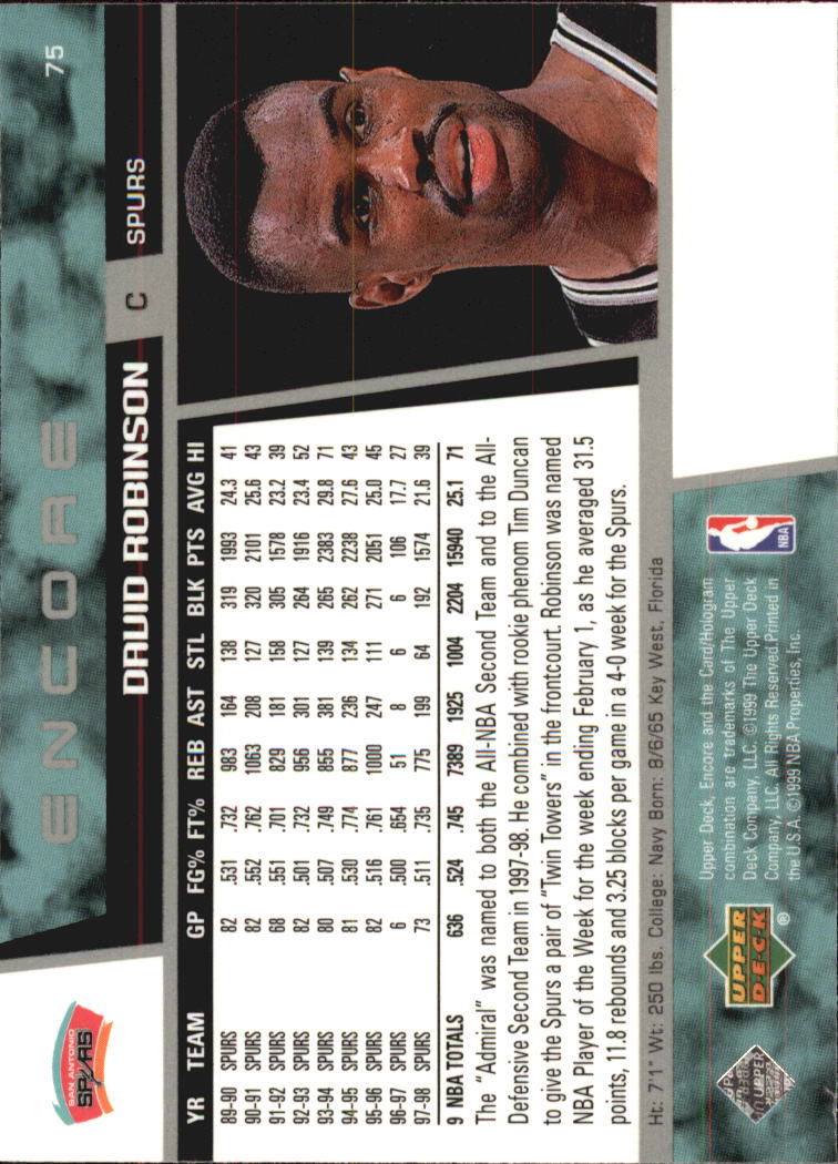 1998-99 Upper Deck Encore #75 David Robinson back image