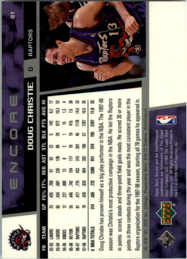 1998-99 Upper Deck Encore #81 Doug Christie back image