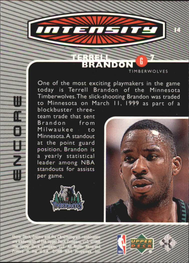 1998-99 Upper Deck Encore Intensity #I4 Terrell Brandon back image