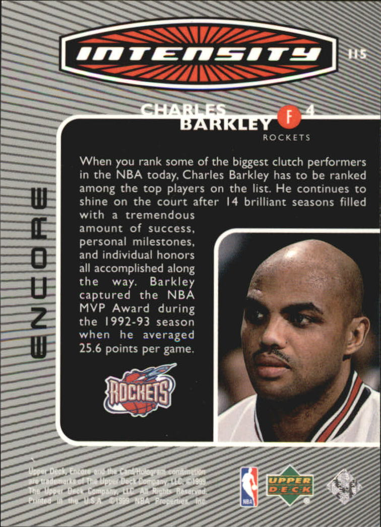 1998-99 Upper Deck Encore Intensity #I15 Charles Barkley back image