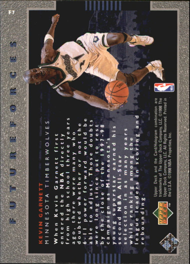 1998-99 Upper Deck Ovation Future Forces #F7 Kevin Garnett back image