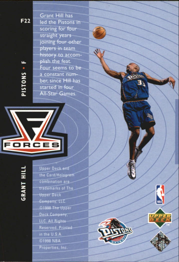 1998-99 Upper Deck Forces #F22 Grant Hill back image