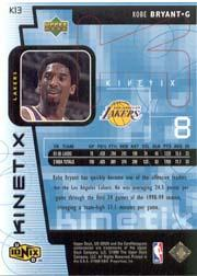 1998-99 UD Ionix Kinetix #K13 Kobe Bryant back image