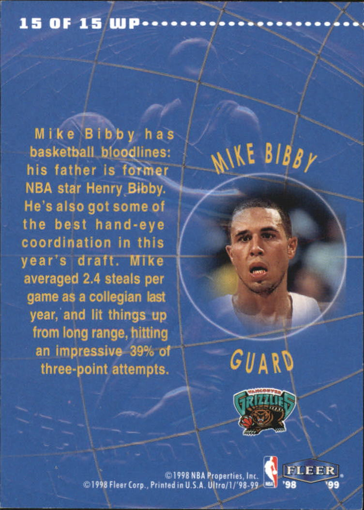 1998-99 Ultra World Premiere #15 Mike Bibby back image