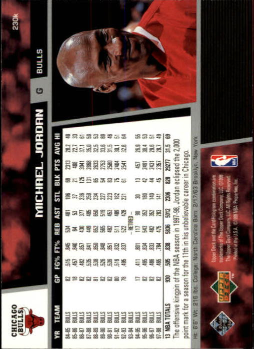 1998-99 Upper Deck #230K Michael Jordan back image