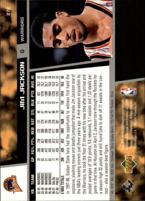 1998-99 Upper Deck #272 Jim Jackson back image