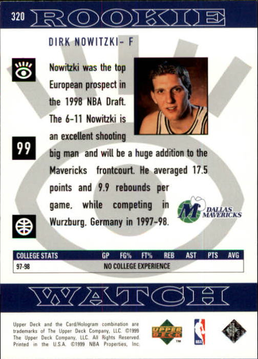1998-99 Upper Deck #320 Dirk Nowitzki RC back image