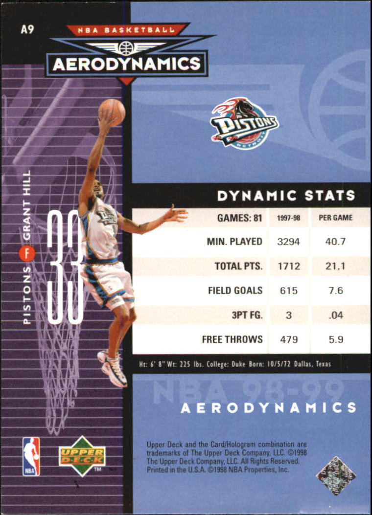 1998-99 Upper Deck AeroDynamics #A9 Grant Hill