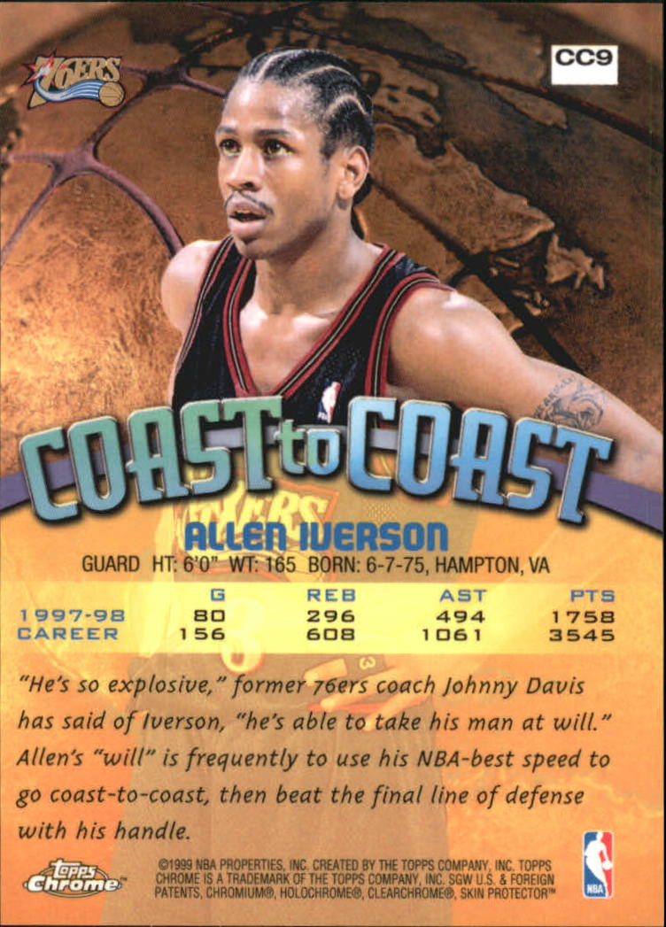 1998-99 Topps Chrome Coast to Coast #CC9 Allen Iverson back image