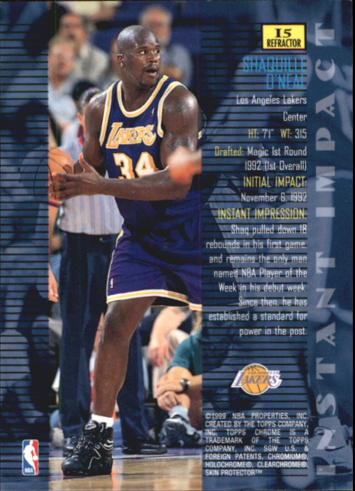 1998-99 Topps Chrome Instant Impact #I5 Shaquille O'Neal back image