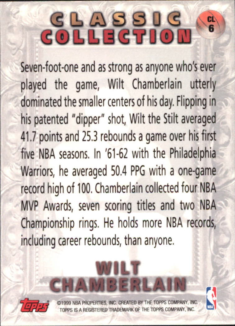 1998-99 Topps Classic Collection #CL6 Wilt Chamberlain back image