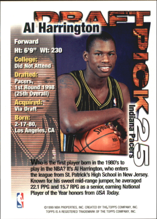 1998-99 Topps Draft Redemption #25 Al Harrington