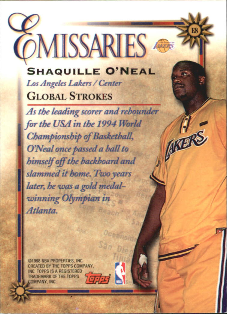 1998-99 Topps Emissaries #E8 Shaquille O'Neal
