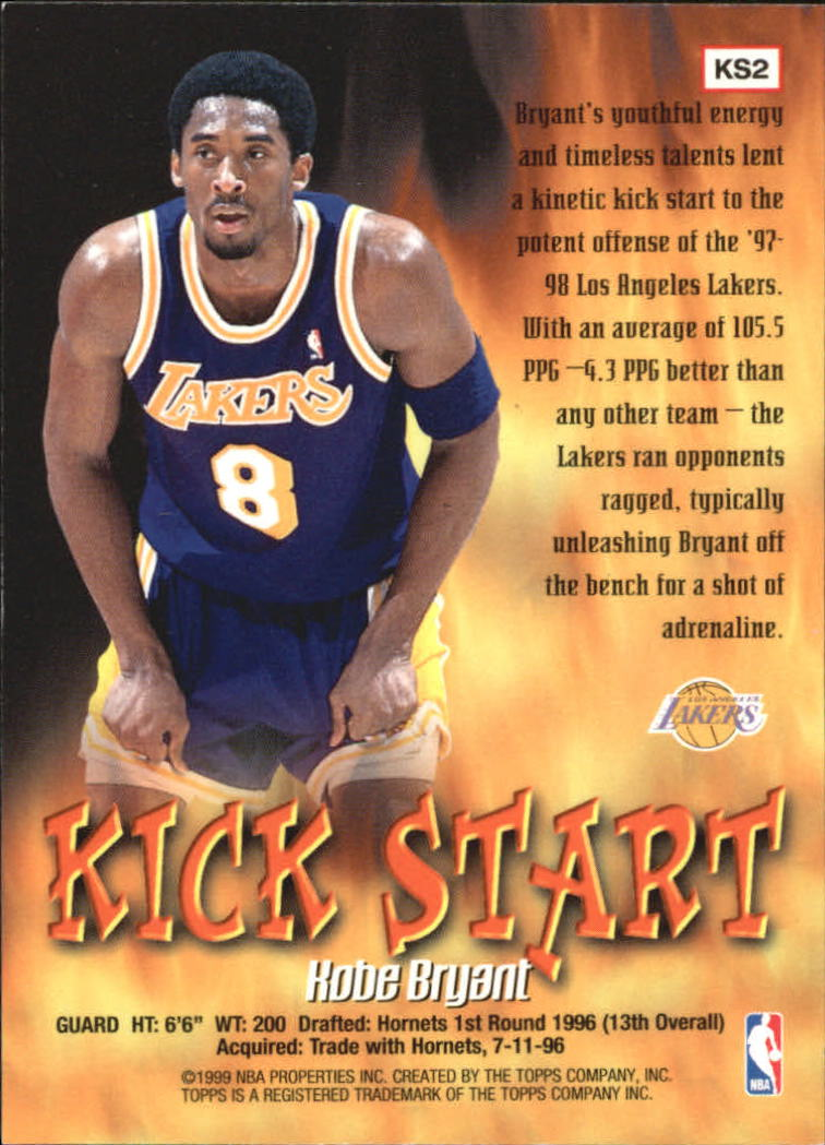 1998-99 Topps Kick Start #KS2 Kobe Bryant back image